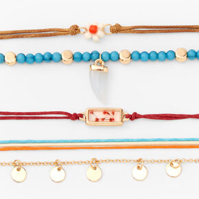 Gold Bohemian Antique Chain Cord Bracelets - 5 Pack,