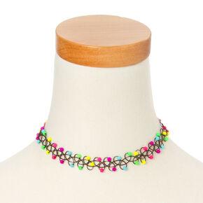 Neon Beads Tattoo Choker Necklace,