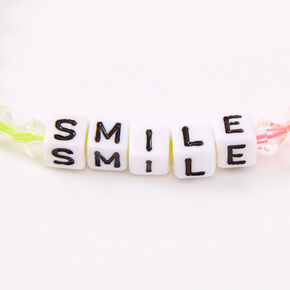 Ombre Rainbow Smile Beaded Stretch Bracelet,