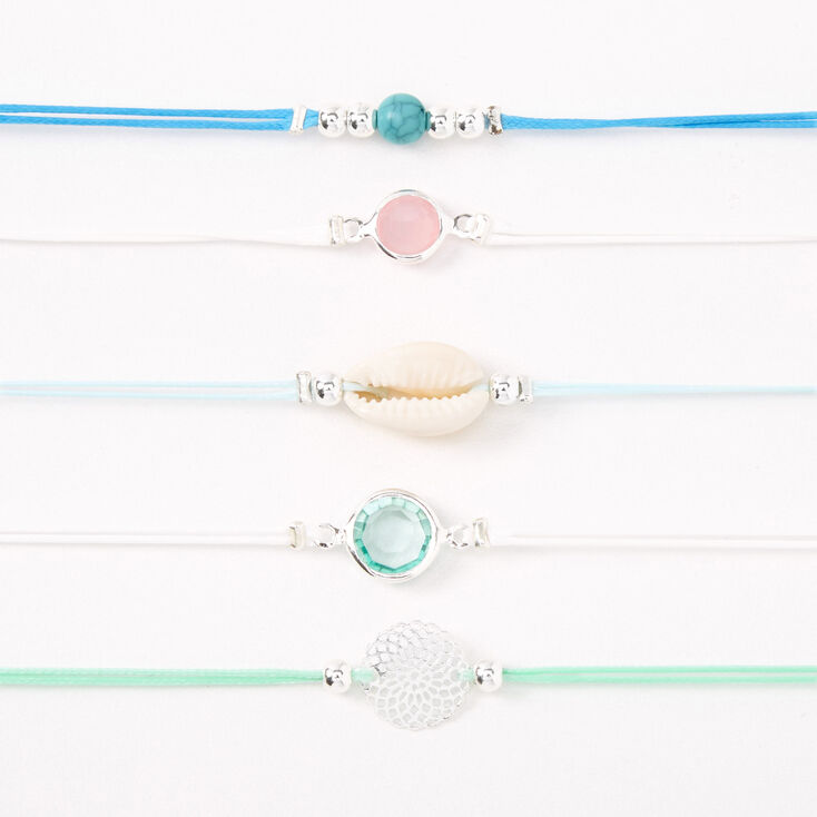 Silver Filigree Seashell Stone Choker Necklaces - Blue, 5 Pack,