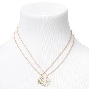 Gold Sun & Crescent Moon Outline Pendant Necklaces - 2 Pack,