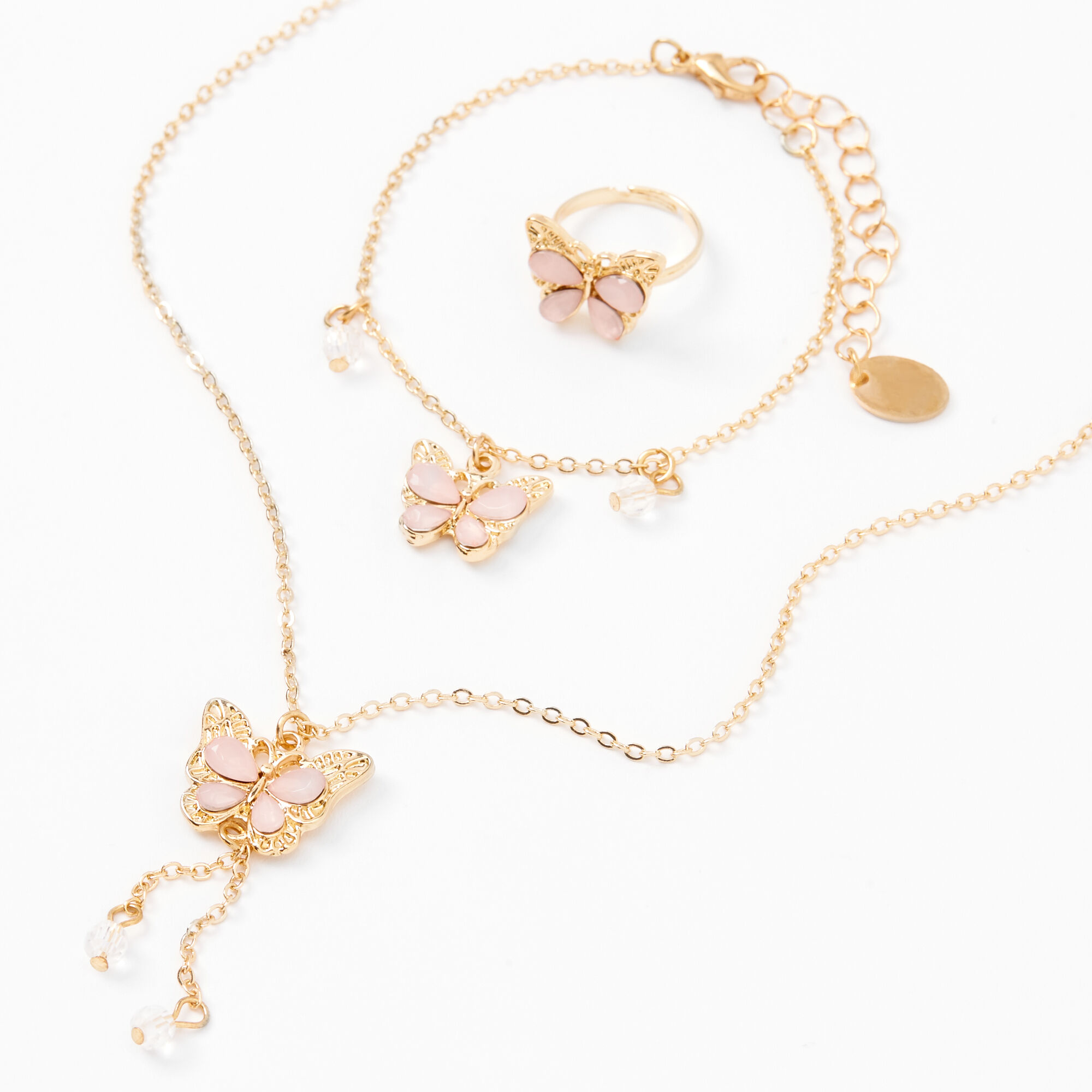 Gold Clipons Available Rose Gold Chain Gift Treat Yourself Great Gift for Her Butterfly NecklaceEarrings Set Anniversary Rose Beads