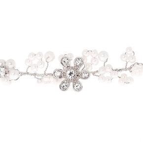 Silver Pearl Flower Hair Crown,
