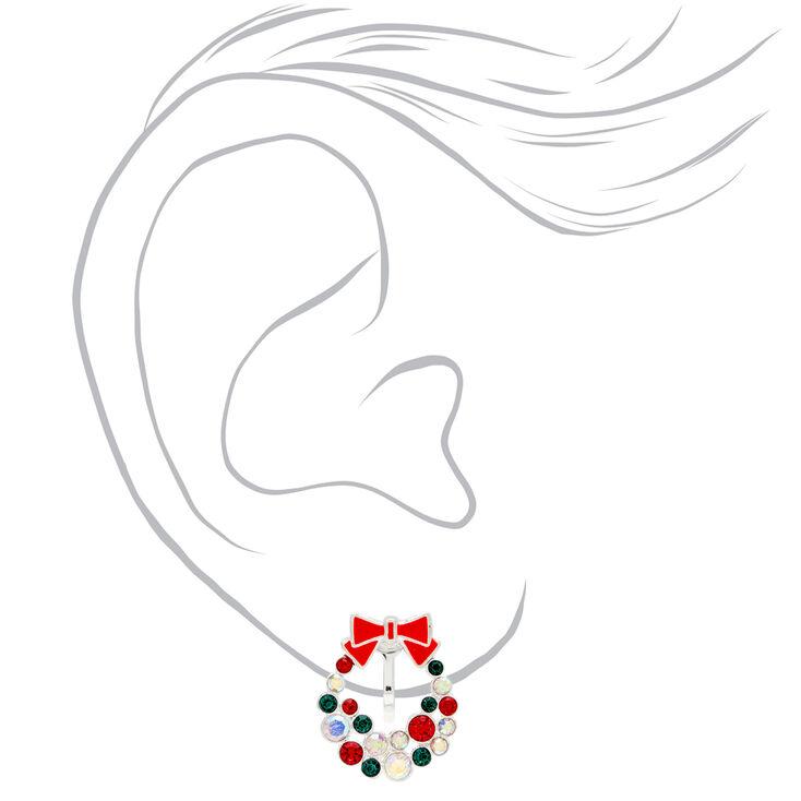 Silver Rhinestone Wreath Clip On Earrings,