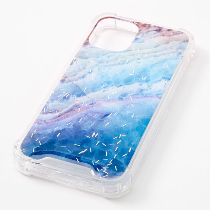 Blue Ombre Glitter Protective Phone Case - Fits iPhone 12 Pro Max,