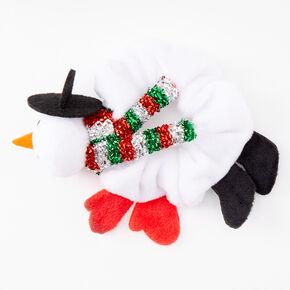 Small Snowman Hair Scrunchie - White,