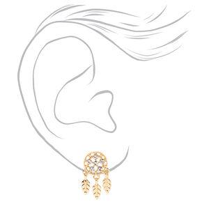 Gold Embellished Dreamcatcher Stud Earrings,
