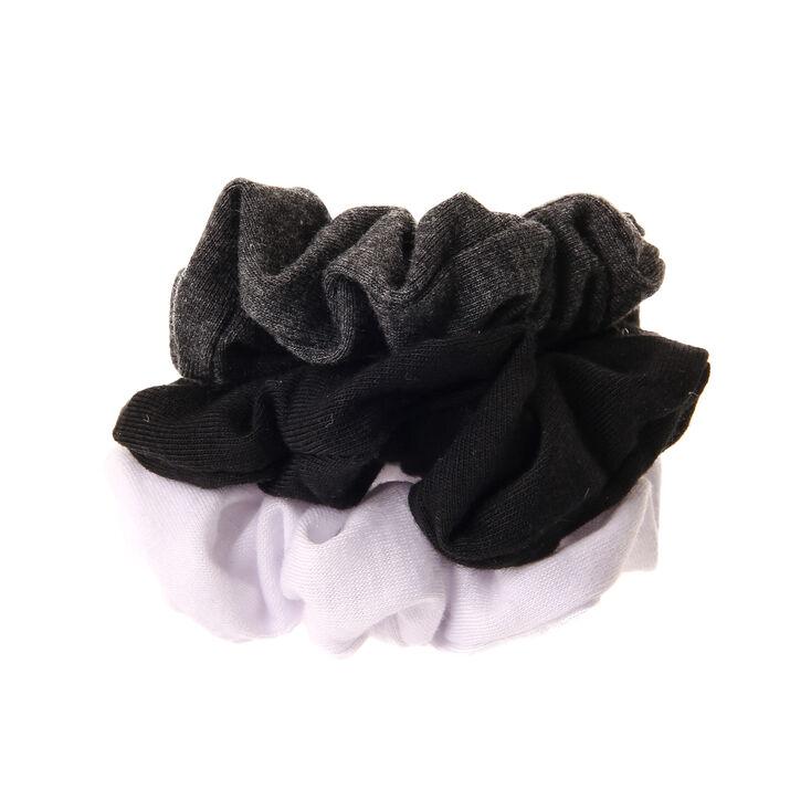 Ensemble de 3 chouchous pour cheveux : noir, gris et blanc,