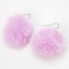 "1.5"" Pom Pom Drop Earrings - Purple,"