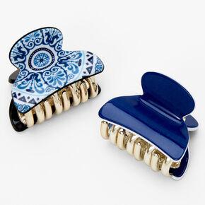 Pinces à cheveux à motif - Bleu, lot de 2,