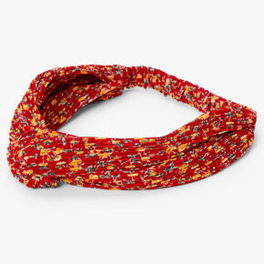 Floral Pleated Twisted Headwrap - Red,