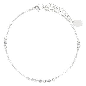 Silver Crystal Beaded Chain Anklet,