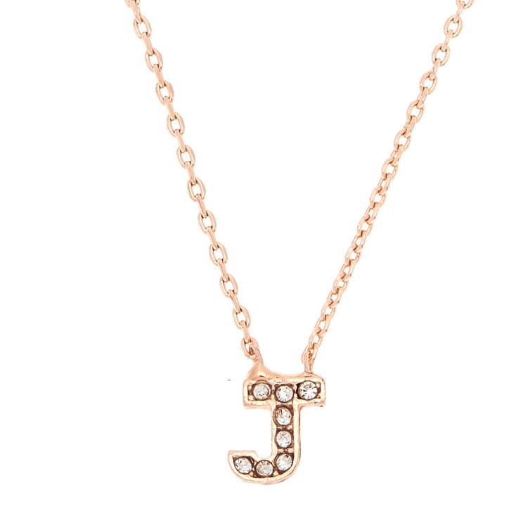 Rose Gold Embellished Initial Pendant Necklace - J,