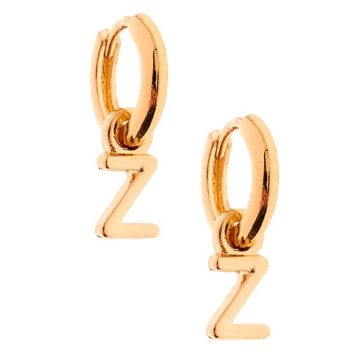 Gold 10MM Initial Huggie Hoop Earrings - Z,