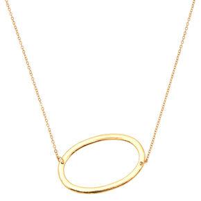 Oversized Initial Pendant Necklace - O,