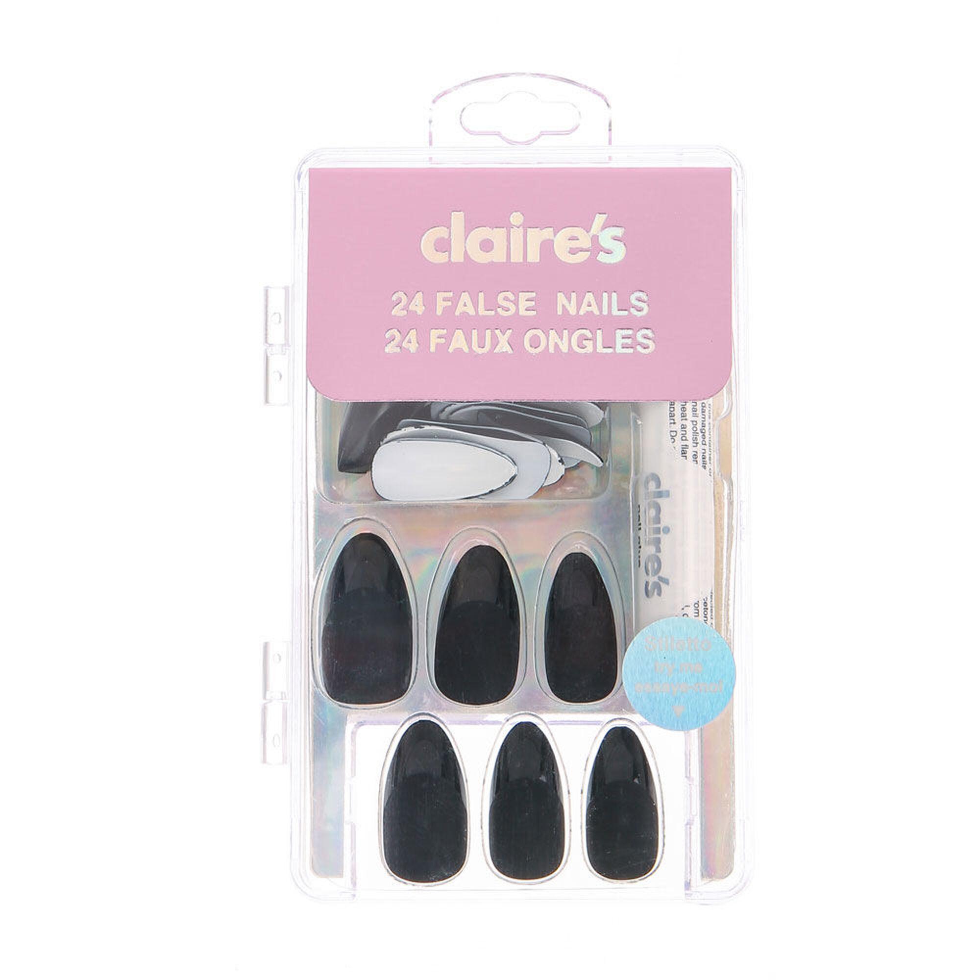 Matte Black French Manicure Stiletto False Nails | Claire\'s US