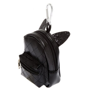 Cat Ears Mini Backpack Keychain - Black,