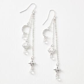 """Silver 3"""" Celestial Eye Drop Earrings,"""