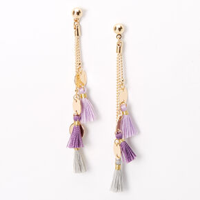 "Gold 2.5"" Disc Tassel Drop Earrings - Lilac,"