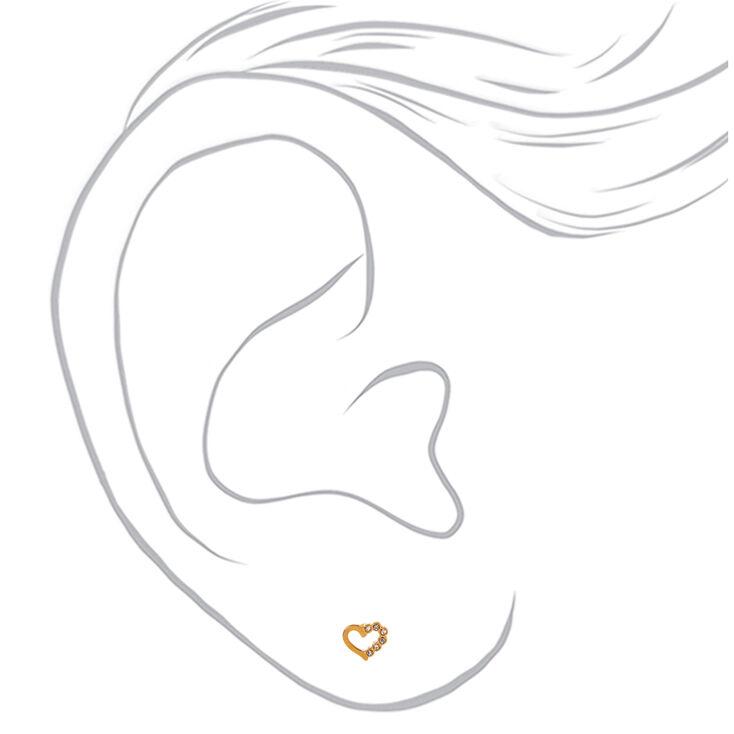 18kt Gold Plated Half Crystal Heart Stud Earrings,