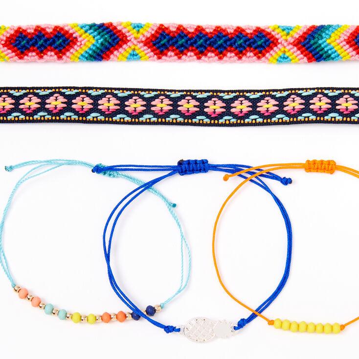 Bracelets d'amitié ananas fluo aux designs variés - Lot de 5,