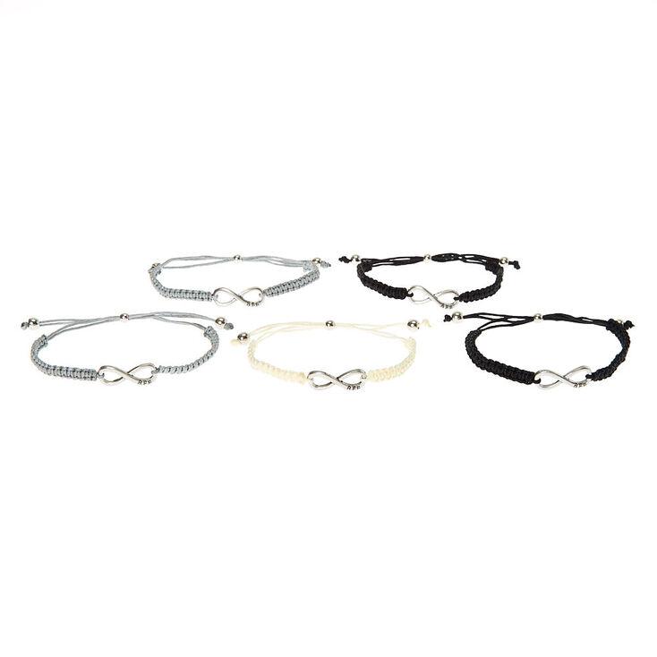 Gray Scale Infinity Adjustable Friendship Bracelets - 5 Pack,