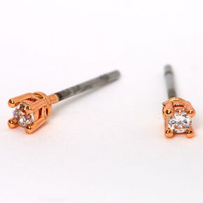 Rose Gold Cubic Zirconia 3MM Round Basket Stud Earrings,