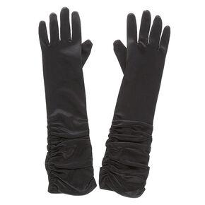 Satin Ruched Gloves - Black,