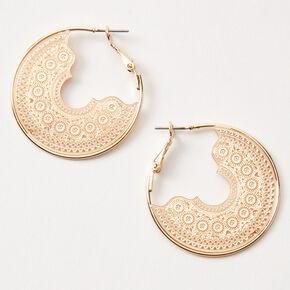 Gold 40MM Delicate Filigree Hoop Earrings,