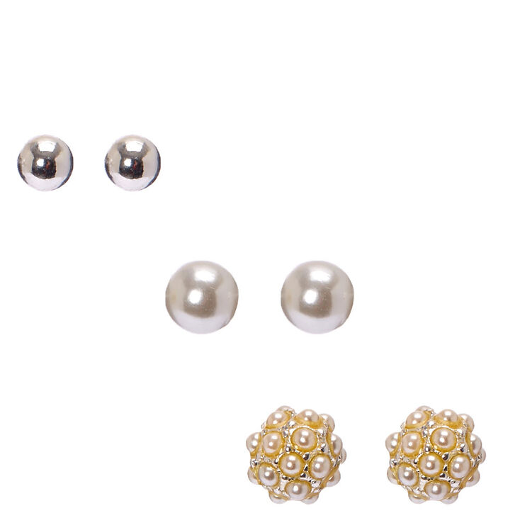 Faux White Pearl and Silver Ball Stud Earrings,
