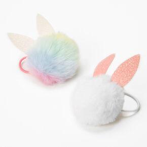 Bunny Ears Pom Pom Hair Ties - 2 Pack,