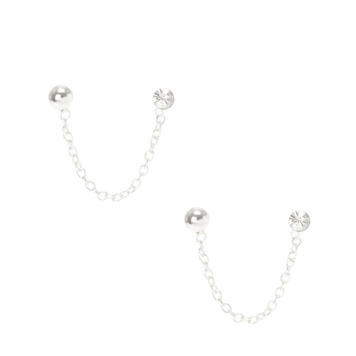 Sterling Silver Crystal Connector Chain Stud Earrings,