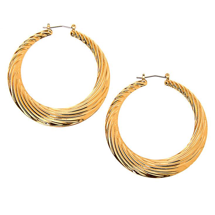 Gold 60MM Textured Hoop Earrings,