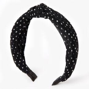 Polka Dot Pleated Knotted Headband - Black,