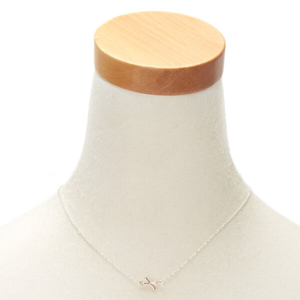 Claire's - mixed metal sideways initial pendant necklace - 2
