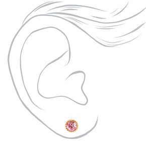 Gold 5MM Pastel Crystal Stud Earrings - 9 Pack,