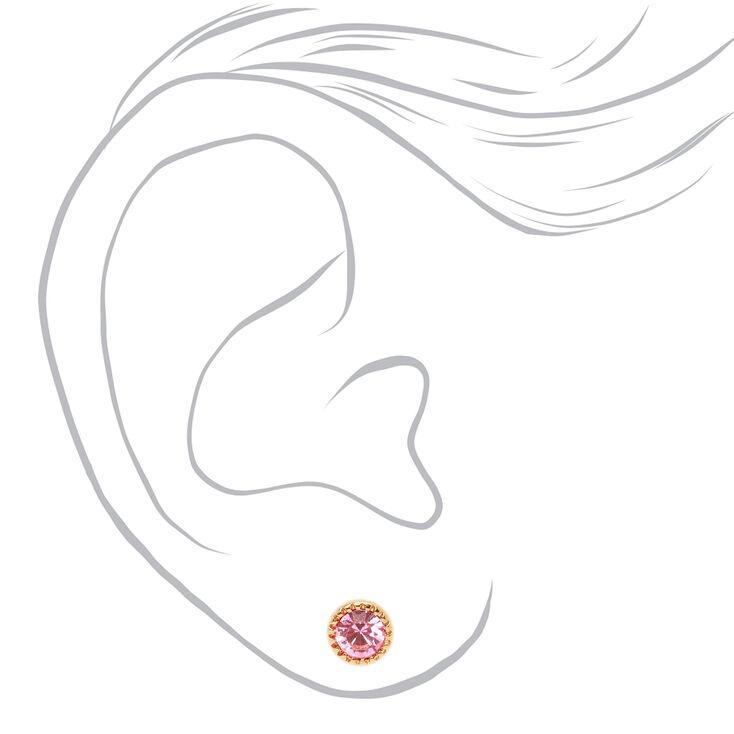 Gold 5MM Pastel Crystal Stud Earrings - 9 Pack,