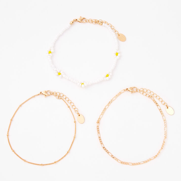 Gold Beaded Daisy Chain Anklets - 3 Pack,