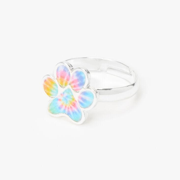 Silver Pastel Tie Dye Paw Print Ring,