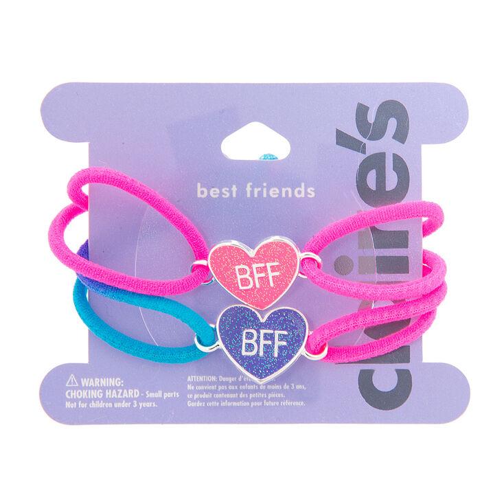 Bracelets Meilleures Amies à corde néon cœurs pailletés,
