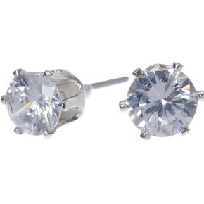 Silver Cubic Zirconia 6MM Round Stud Earrings,
