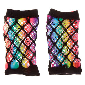 Rainbow Fishnet Arm Warmers,