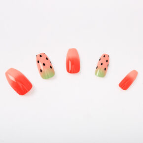 Watermelon Coffin Faux Nail Set - 24 Pack,