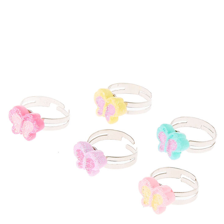 Kids 6 Pack Glitter Butterfly Rings | Claire's US