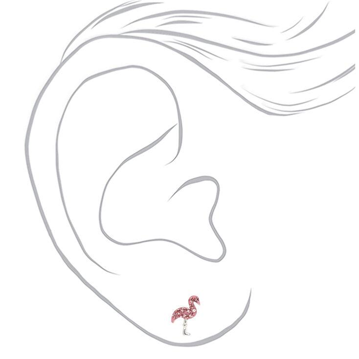 Sterling Silver Crystal Flamingo Stud Earrings - Pink,