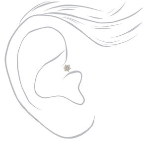 Silver Titanium 16G Pearl Flower Rook Earrings - 3 Pack,
