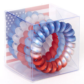 Red, White & Blue Spiral Hair Ties - 5 Pack,