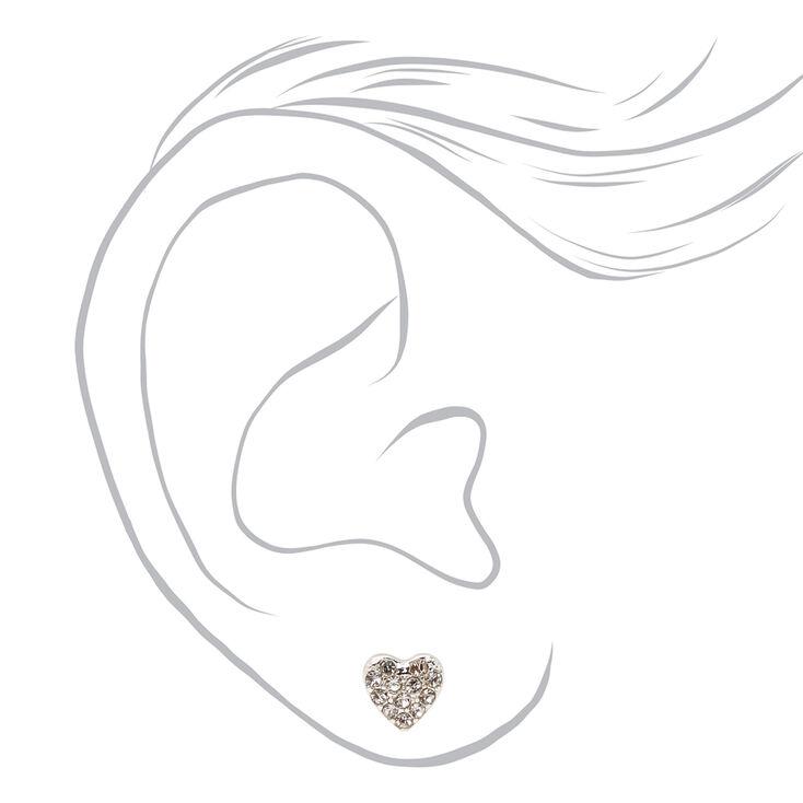 Lot boucles d'oreilles et collier amas de cœurs strass couleur argentée - Lot de 2,