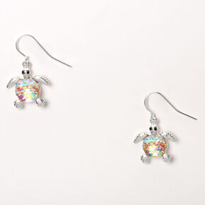 "Silver 1"" Iridescent Scale Turtle Drop Earrings,"