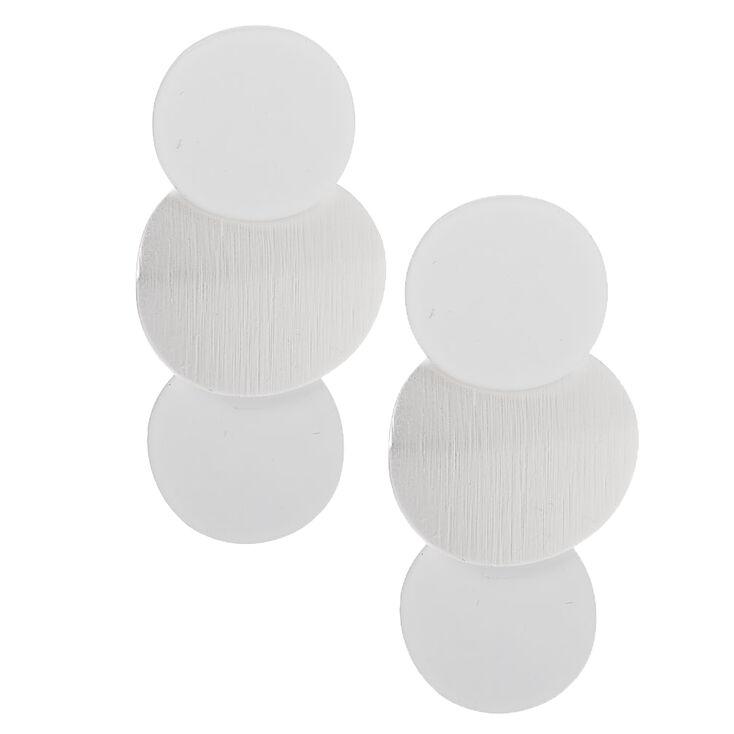 """Silver 1.5"""" Satin Disc Drop Earrings,"""